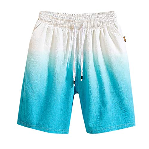 LUCAMORE Men's Gradient Cotton Linen Shorts Elastic Waist Drawstring Outdoor Training Running Shorts Blue