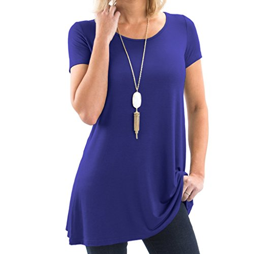 Boatneck Tunic Cotton - Bella Women's Short Sleeve Boatneck Tunic with Symmetrical Hem - Super Soft Loose Fit T-Shirt Tunic Top, Perfect Casual Blouse for Leggings & Jeans - Small - Royal Blue