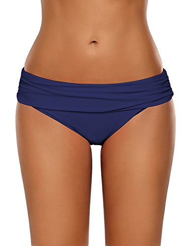 (GRAPENT Women's Ruched Waistband Moderate Bikini Bottom Swimming Swimsuit Shorts Navy Blue Size Large (fit US 12-US 14))