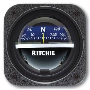 (Ritchie Compass V-537B Explorer Compass - Bulkhead Mount - Blue Dial)