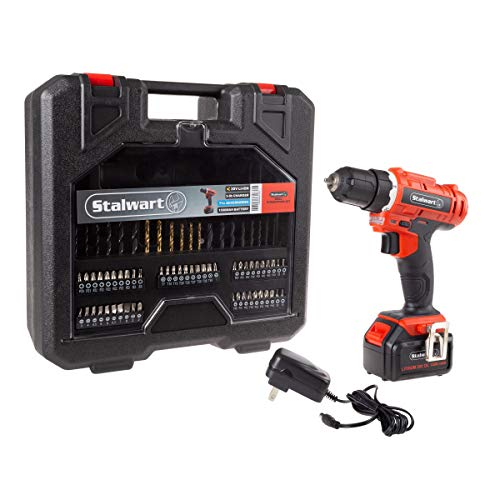 Stalwart 20V Cordless Drill with Rechargeable Lithium Ion Battery and 71 Piece Accessory Set – Portable Power Tool with Bits, Drivers and Belt Clip