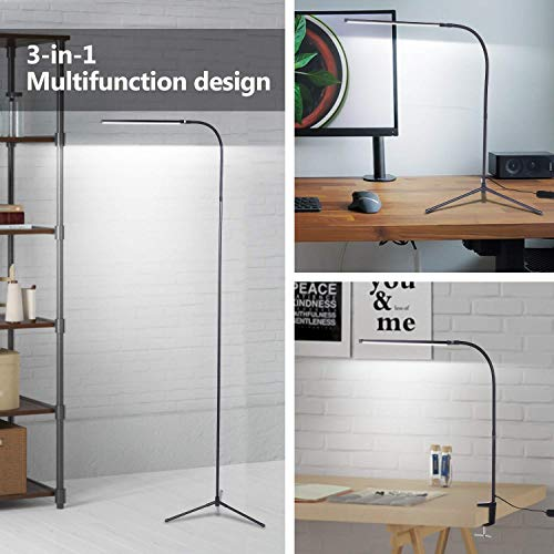 LDHUT 3-in-1 LED Reading and Craft Floor Lamp Desktop Clamp lamp for Living Sewing Room Bedroom Dimmable Height and Angle Adjustable Gooseneck Modern Standing Pole Light for Sofa