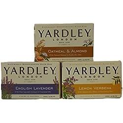 Yardley London Soap Bath Bar Bundle - 3 Items: Lemon Verbena, Oatmeal & Almond, English Lavender 4.25 Oz Bars