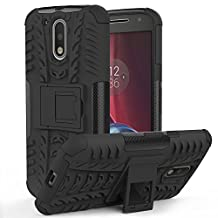 "Moto G4 / G4 Plus Case - MoKo Heavy Duty Rugged Dual Layer Armor with Kickstand Protective Cover for Motorola Moto G 4th Generation / G4 Plus 5.5"" (2016), BLACK (Not Fit Moto G Previous Generations)"