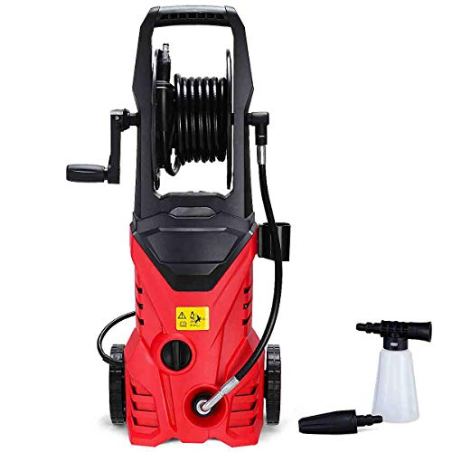 Goplus Electric Pressure Washer High Power Machine w/ 16.5ft Hose, Wash Brush, Soap Bottle, 2030PSI 1.6GPM 1800W (Red)
