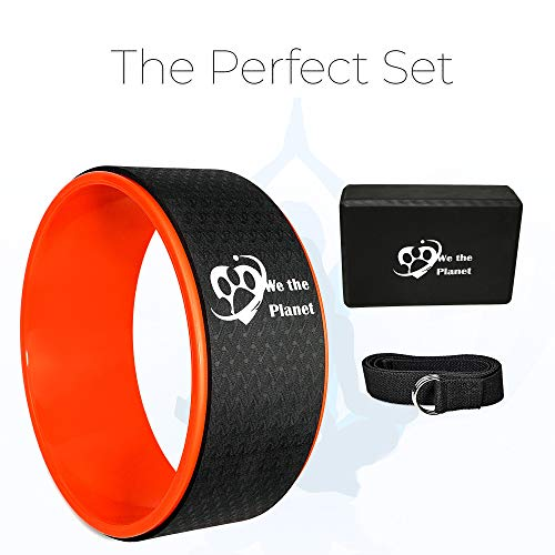 WeThePlanet Premium Yoga Set | Dharma Yoga Wheel Roller, Yoga Straps, and Yoga Blocks | For Pilates, Yoga, Physical Therapy, Stretching | Improve Balance, Mobility, Backbends, Knees, Wrists, and Abs