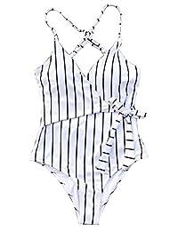 MuQing Women's One-Piece Stripe Swimsuit Beach Swimwear Stay Young Bathing Suit