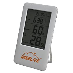 Wiselive Indoor Temperature  Humidity Monitor with Backlight Alarm Clock