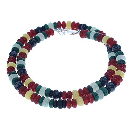 Malachite, Aventurine, Carnelian, Serpentine, Snow Flake Obsidian & Black Onyx Mens Beaded Necklace - (Malachite Onyx Necklace)