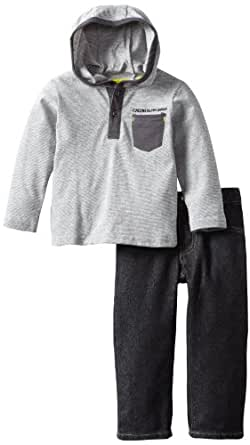 Calvin Klein Little Boys' 2-Piece Hooded Top With Jeans, Gray, 7