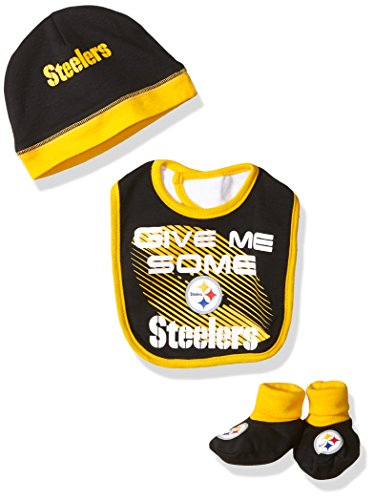 NFL Pittsburgh Steelers Boys Cap Bootie & Bib Set, 0-6 Months, Black (Booties Cap Onesie)