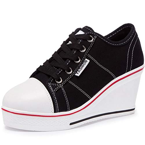 - ASO-SLING Women's Canvas Vulcanize Shoes Wedge Sneaker Hidden Heeled Platform Fashion Pump Walking Shoes