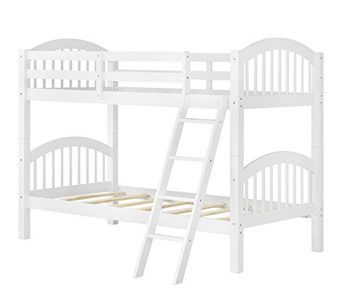 Harper&Bright Designs Twin-Over-Twin Solid Wood Bunk Bed (White)