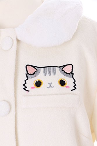 TS-81 Weiß Grau Katze Pfote Lolita Woll-Jacke Mantel Pastel Goth Harajuku Japan Kawaii-Story