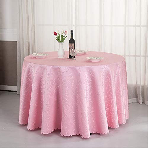 - uktjrgh 1PC White/Beige/Coffe 8 Colors Hotel Banquet Polyester Jacquard Dining Table Cover Wedding Party Decor Round Tablecloth Pink 140x140cm