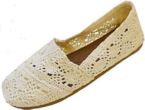 - Womens Canvas Crochet Slip on Shoes Flats (7/8, Cream 3008)