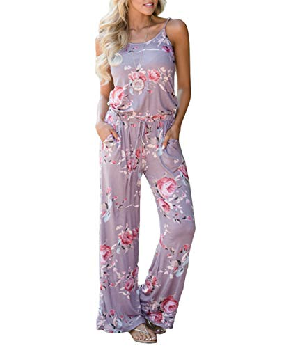 Angerella Gray Jumpsuit for Women Casual Loose Spaghetti Cute Wide Leg Long Pant Rompers,XL