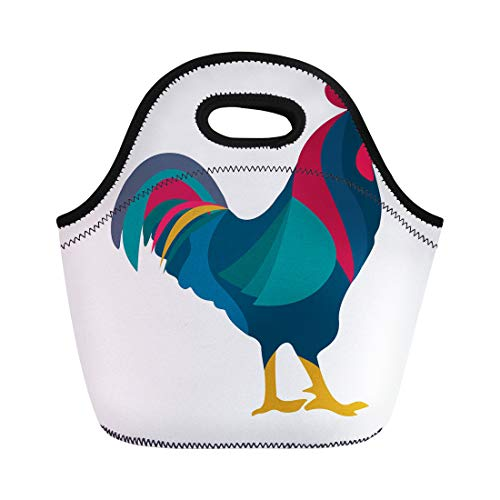 Semtomn Neoprene Lunch Tote Bag Rooster Red Crest Drawing Chicken Brown Leghorn Bird Animal Reusable Cooler Bags Insulated Thermal Picnic Handbag for Travel,School,Outdoors,Work
