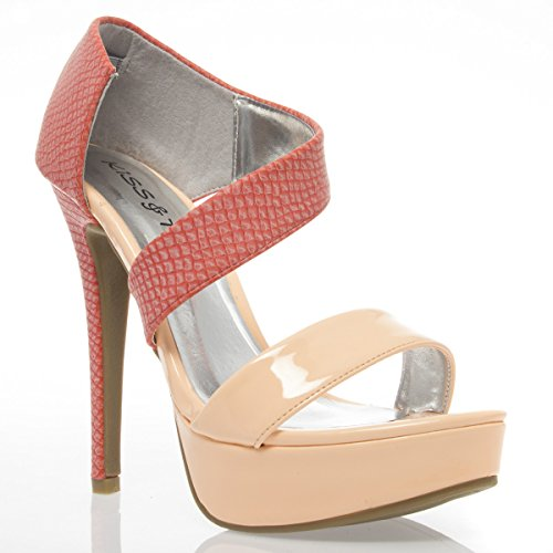 V-Luxury Womens 44-YAMILA10 Open Toe High Heel Stiletto Platform Pump Sandal, Coral Blush Patent Leather, 10 B (M) US