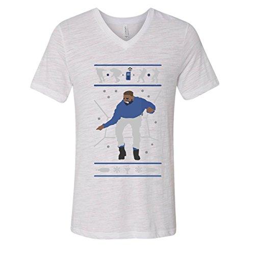 H&T Shirt V-Neck for Men Hotline Bling Drake Men's V-Neck Shirts(White Slub,Medium) ()