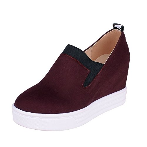 VogueZone009 Damen Ziehen auf Nubukleder Rund Zehe Hoher Absatz Gemischte Farbe Pumps Schuhe Weinrot