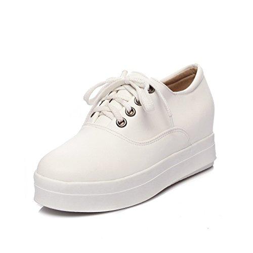 A para tacón de redonda Zapatos amp;N diseño con mujer gatito cordón de Blanco punta rwq1ArgCx