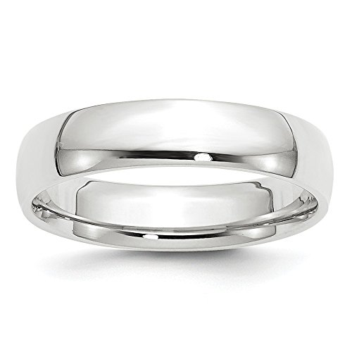 14k White Gold 5mm Light Weight Comfort Fit Band Size 10 by Saris and Things