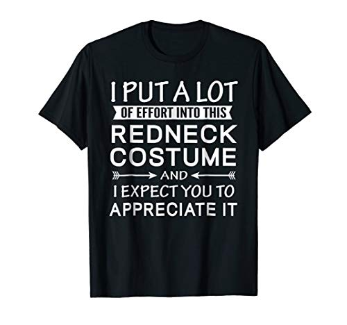 Lazy Halloween Costume T Shirt for Quick Easy Redneck Theme