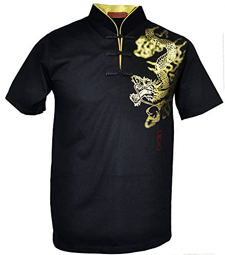 (Amazing Grace Men's Chinese Collar Traditional Top Cotton Tee Shirt (Medium, Gold Dragon Black Men))