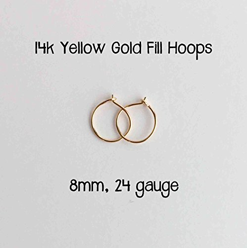 Everyday Hoop Earrings 14k Yellow Gold Fill 8mm, 24 gauge Handmade