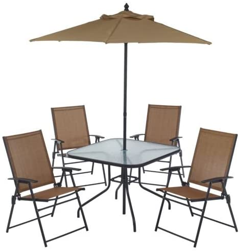 Amazon Com 6 Piece Outdoor Folding Patio Set With Table 4 Chairs Umbrella And Built In Base Garden Outdoor