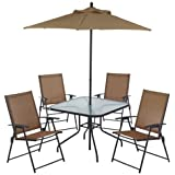 6 Piece Outdoor Folding Patio Set   With Table, 4 Chairs, Umbrella And  Built In Base