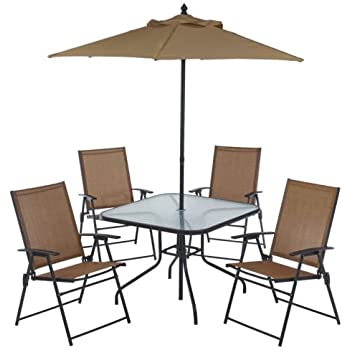 6 piece outdoor folding patio set with for Patio table chairs and umbrella sets