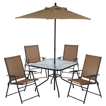 6 Piece Outdoor Folding Patio Set - With Table, 4 Chairs, Umbrella and Built - Amazon.com : 6 Piece Outdoor Folding Patio Set - With Table, 4