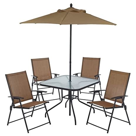 Lovely 6 Piece Outdoor Folding Patio Set   With Table, 4 Chairs, Umbrella And Built