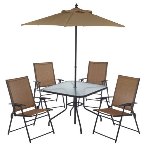 (6 Piece Outdoor Folding Patio Set - With Table, 4 Chairs, Umbrella and Built-In Base)