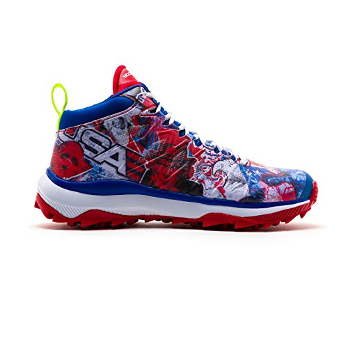 Boombah Men's Squadron USA Mid Turf Shoes Royal Blue/Red/White - Size 10.5