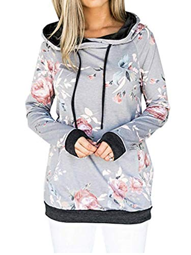 Famulily Women's Floral Hoodie Casual Long Sleeve Winter Pullover - Wool Sweater Drawstring