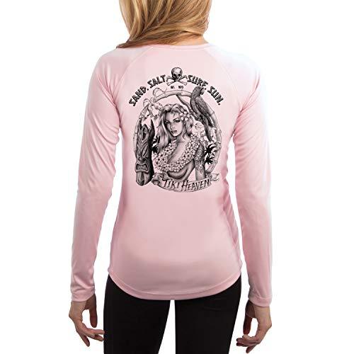 (SAND.SALT.SURF.SUN. Tiki Girl Women's UPF 50+ Long Sleeve T-Shirt Medium Pink Blossom)