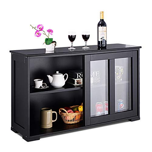 Costzon Kitchen Storage Sideboard, Antique Stackable Cabinet for Home Cupboard Buffet Dining Room (Black Sideboard with Sliding Door Window) (Top Table Buffet Glass)