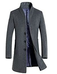 Mordenmiss Men's Long Sleeve Trench Coat With Side Pockets