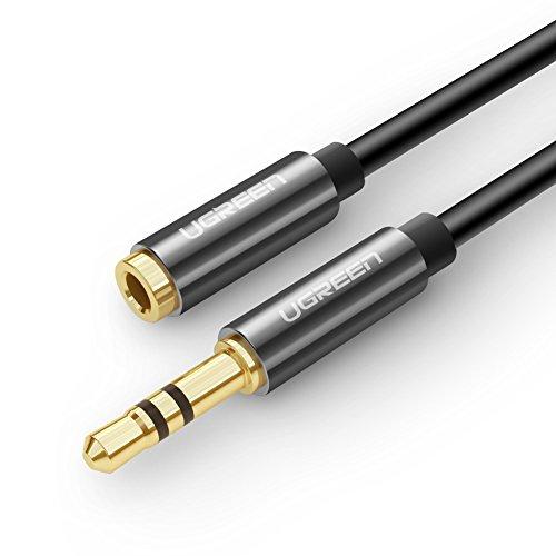 Ugreen 5M Stereo Audio Klinken aux Verlängerungskabel für AUX Eingänge 3.5mm Stecker auf 3.5mm Buchse Kompatibel mit iPhone, iPad oder Smartphones, Tablets, Media-Playern, Vergoldete Kontakte mit Hochwertigem Aluminiumgehäuse Schwarz