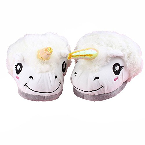Price comparison product image Akanbou Unisex Cute Funny Warm Emoji Home Slippers Cartoon Plush Shoes For Adult Kids Varied Size (One Size 35-44EU,  Unicorn)