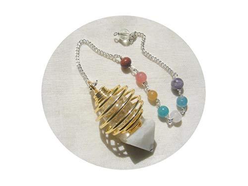 - mysticalindia Gold Plated Spiral Metal Healing Pendulum Moonstone Pyramid, 7 Chakra Healing Dowsing.