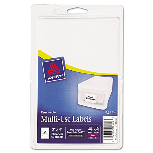 Avery 05453 Removable Multi-Use Labels, 3 x 4, White, 80/Pack ()