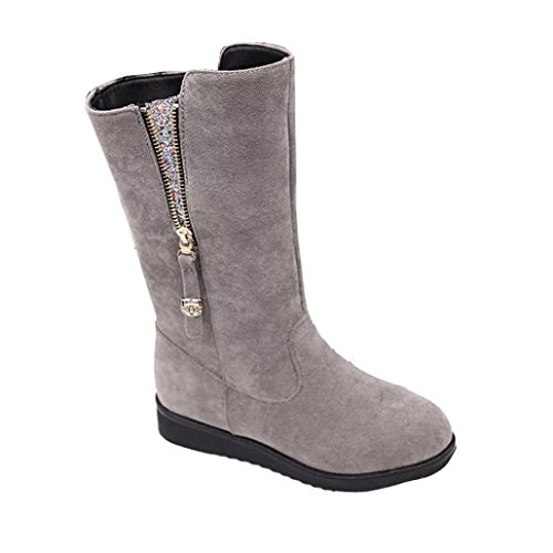 [Voberry Fashion Ladies Women Boots Flat Winter Warm Zipper Closure Snow Shoes (8(RU/EU/CN-- 39), Gray)] (Winter Warm Zipper Closure)