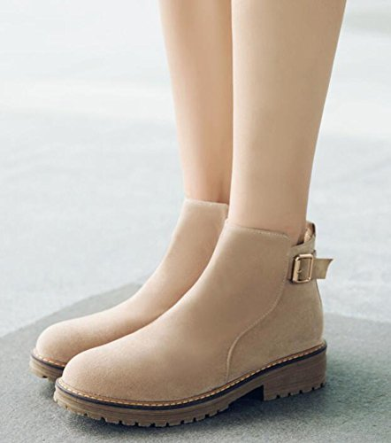 IDIFU Womens Casual Mid Chunky Heels Faux Suede Motor Ankle Boots With Zipper Beige Ixz1fsxDLu