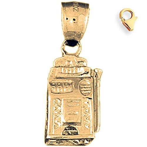 Jewels Obsession Slot Machine Charm | 14K Yellow Gold Slot Machine Charm Pendant - 27mm