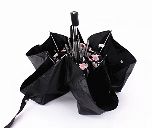 Cherry Blossom Foldable Windproof Travel Umbrella, Fast Drying/waterproof 8 Ribs Reinforced Windproof, , portable and durable for Business. (Plum Pink) by Tomato99 (Image #6)