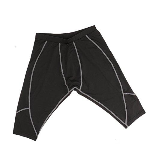 ラップ地図砂のノーブランド品 男女兼用 スポーツ ショート タイツ ジム トレーニング バスケットボール サッカー パンツ 2色5サイズ選べる - ブラック+グレー, XL
